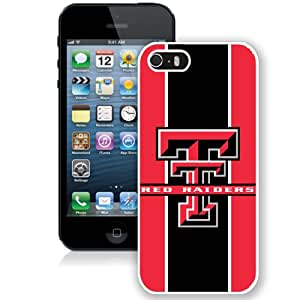 Beautiful And Popular Designed With NCAA Big 12 Conference Big12 Football Texas Tech Red Raiders 10 Protective Cell Phone Hardshell Cover Case For iPhone 5S Phone Case White