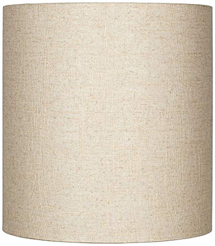 Oatmeal Tall Linen Drum Shade 14x14x15 (Spider) - Brentwood (Lamp Shades Tall)