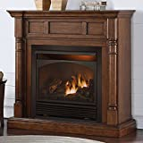 Duluth Forge Full Size Dual Fuel Vent Free Gas Fireplace – 32,000 BTU, Remote Control, Walnut Finish For Sale