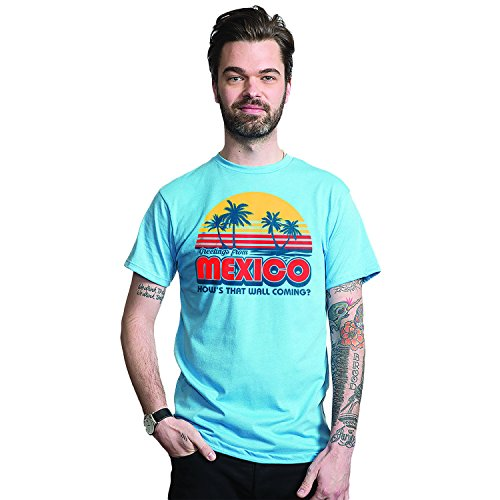 Thing About Crewneck T-shirt - Headline Shirts Greetings from Mexico Funny Graphic Screen Printed Crewneck T-Shirt for Men