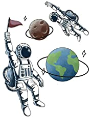 Space Planet Wall Sticker,3D Astronaut Outer Space Self-Adhesive Removable Break Through The Wall Vinyl Wall Stickers Art Decals for Bedroom Kids Room (Color 8)