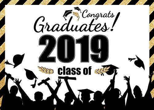 AIIKES 7x5FT Class of 2019 Graduation Party Backdrop Congrats Graduates Ceremony Banner Photography Backdrop Personalized School Theme Graduate Prom Decoration Background 11-478]()
