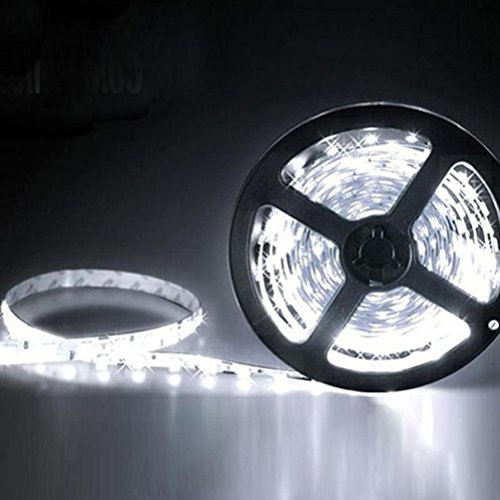 Mintu 5M LED Flexible Light Strip, 300 Units 3528 SMD LEDs, 12V DC, Cool White Fairy Lamp Strips, LED ribbon, DIY Christmas Holiday Home Kitchen Car Bar Indoor Party Decoration (Led Ultra Bright Strip)