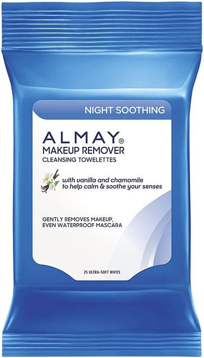 Almay Night Soothing Makeup Remover Cleansing Towelettes, Hypoallergenic, Cruelty Free, Oil Free, Fragrance Free, Ophthalmologist & Dermatologist Tested, 25 Wipes