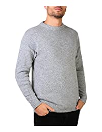 KRISP Mens Soft Wool Knitted Warm Sweater Grandad Pullover Round Crew Neck Top