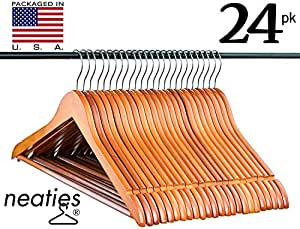 Light Cherry Everyday Wood Hangers with Non-Slip Bar and Notches, Super Sturdy and Durable Wood, 24 pack