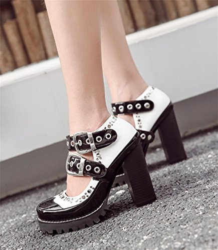 Splicing Heel Ankle Pointed Up Shoes Lace Up High Boots HETAO Chic Personality White Heels Temperament Women's Elegant Toe Sexy Mid Chunky Zip Shoes xfqwnnCZ7c