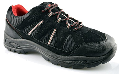 Dek Mens New Hiking Walking Trail Lace Up Grip Sole Trainers Boots Shoes Size 6-13 Black