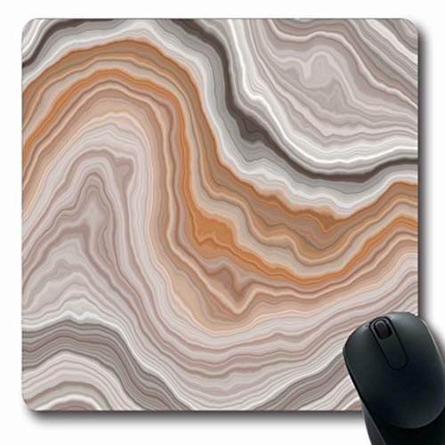 Ahawoso Mousepads for Computers Gray Stone Wide Onyx Slice Agate Marble Nature Green Gem Bar Carnelian White Fibrous Oblong Shape 7.9 x 9.5 Inches Non-Slip Oblong Gaming Mouse Pad ()