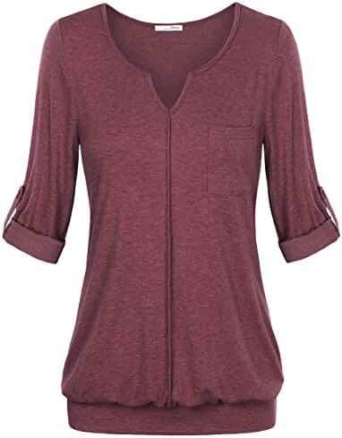 Messic Women's V Neck Cuffed Sleeve Knit Shirt Blouse