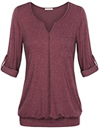 Women's V Neck Cuffed Sleeve Casual Loose Work Blouse