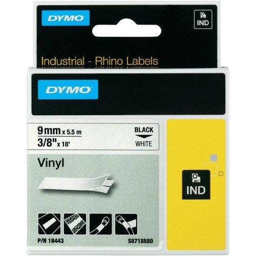 Dymo 18443 3/8 Vinyl tape Rhino Labels - White