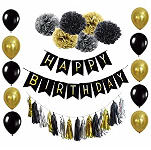 B&D Party Black and Gold Birthday Party Decorations with Happy Birthday Banner Tissue Pom Poms Tassel Garland Balloons Girls Boys 20th 30th 40th 50th 60th (Black)