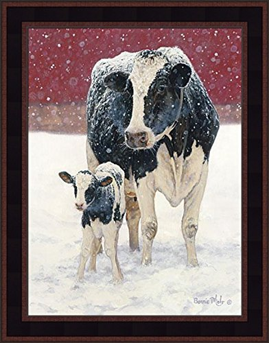 First Christmas by Bonnie Mohr 15x19 Farm Animals Cows Holstein Country Art Print Wall Décor Framed Picture