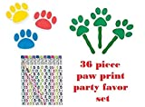 Paw Patrol Party Favors 36 Piece Set (12) Paw Print Pencils, (12) Paw Print Erasers, (12) Paw Fans