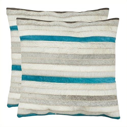 Safavieh Pillow Collection Throw Pillows, 22 by 22-Inch, Quinn Grey, Set of 2 by Safavieh