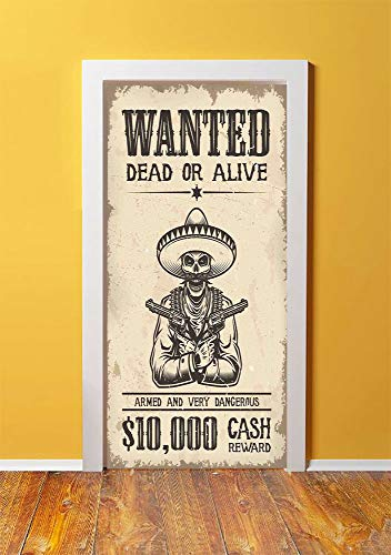 SHENGLIPINK Western 3D Door Sticker Wall Decals Mural Wallpaper,Dead Skull with Cowboy Hat and s in Retro Vintage Texas Art Print,DIY Art Home Decor Poster Decoration 30.3x78.15337,Beige Black]()