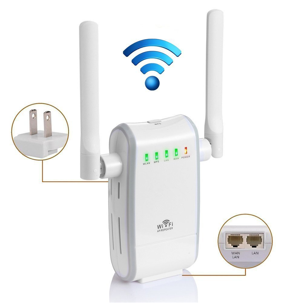 300M WIFI Extender Range Extender AP/Repeater/Router Mode Support(2  Ethernet Port, 2 External Port, WPS Button, US Plug)-White