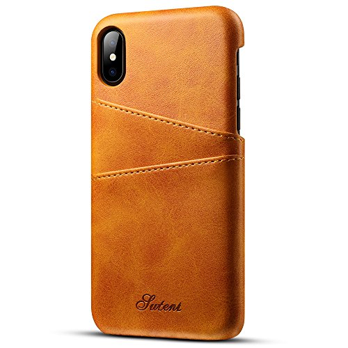 Iphone X, 5.8 inches, Wallet Phone Case, Slim PU Leather Back Case Cover With Credit Card Holder Khaki Case