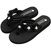 Clearance!Women Summer Sandals,Todaies Fashion Women Flower Anti-Skidding Flat Heel Sandals Slipper Beach Shoes Black,Gray,Blue,Red,Purple 2018