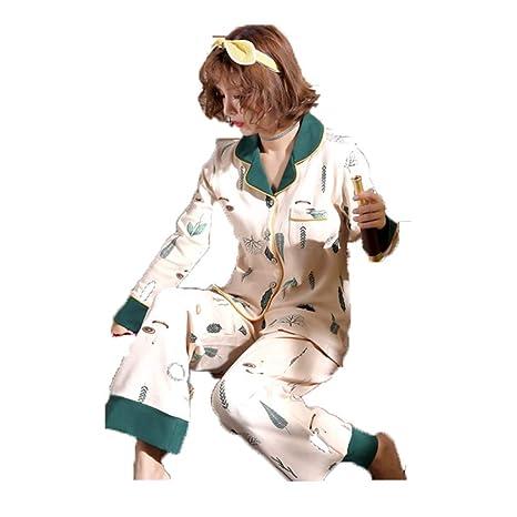Pijamas otoño e Invierno de algodón de Manga Larga versión Coreana Linda de la Primavera y