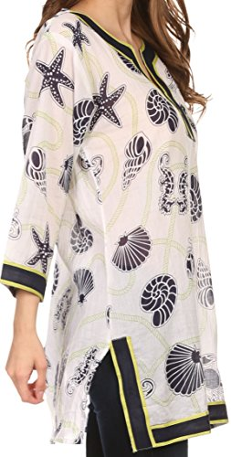 Sakkas 164024 - Fawn Tunic Blouse Top With Printed Pattern And Multi Toned Trims - Navy / Green - 2X