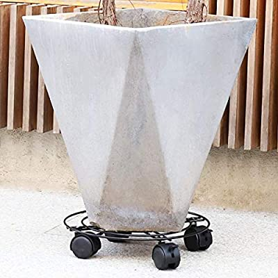 Moutik Round Plant Caddy Metal:Plant Stand with Lockable on Roller Patio Flower Pot Rack Plant Holder (10