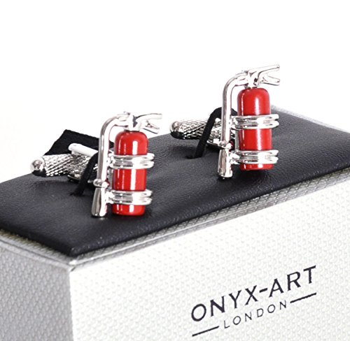 Onyx Art Cufflinks - Fire Extinguishers Flag for Fire Fighters