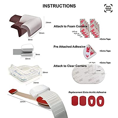 26 CORNER GUARD Protectors, Fridge Toilet SAFETY LOCK, RE-USE TAPE. Child Safety Foam corner guards, Babyproof Clear protective bumper cushion for furniture.