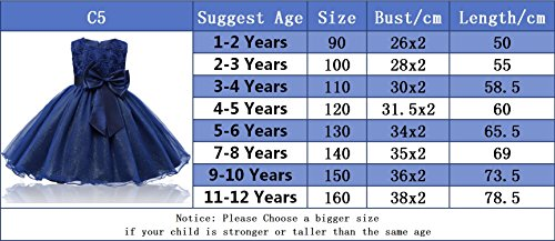 NNJXD Girl Sleeveless Lace 3D Flower Tutu Holiday Princess Dresses Size 1-2 Years Deep Blue