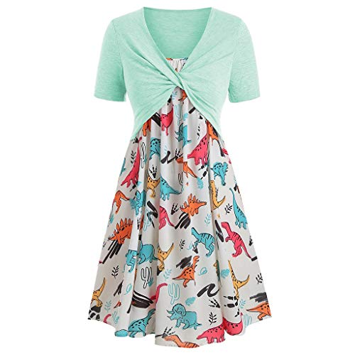 (Women's Summer Casual Short Sleeve Tops Boho Print Swing Mini Dress 2 Piece Outfit(Green 5,L))