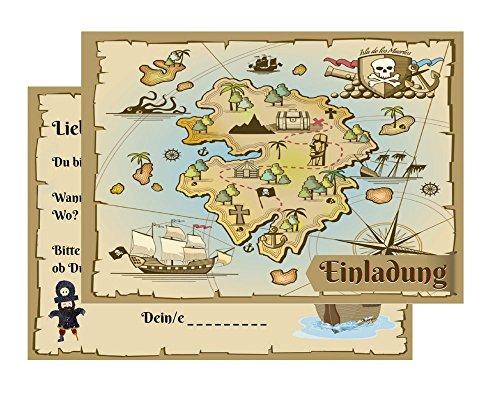Set: 10 Einladungskarten Kindergeburtstag: Pirat / Schatzkarte / Schatzsuche / Piratenparty   Geburtstagseinladungen Einladungen Geburtstag Kinder Jungen Mädchen (10 Karten mit 10 Umschlägen Briefumschlägen)