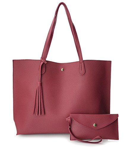 Minimalist Clean Cut Pebbled Faux Leather Tote Womens Shoulder Handbag (Dark Red)