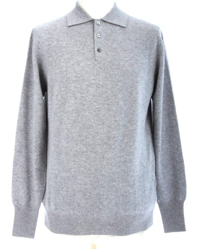Shephe Men's Polo Cashmere Sweater with 3-button Light Grey Extra Large (Polo Cashmere)