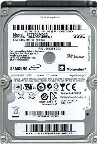 Samsung ST750LM022 HN-M750MBB/M2 750GB P/N: F3183-G94A-A0NU1 Seagate