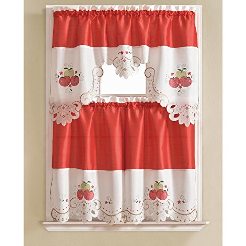 RT Designers Collection Tier and Valance Noble Embroidered Tier & Valance Kitchen Curtain Set -, Apple,