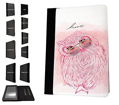 003828 - Cute Pink Owl Glasses Hoot Drawing Design Amazon Kindle Fire HD 10 (2017) Flip Case Purse pouch Stand Cover