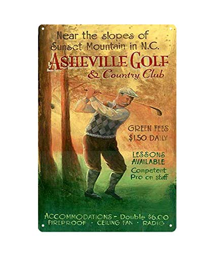 WholesaleSarong Asheville Golf Country Club Metal tin Sign Home Interior Design Garden Outdoor Living Room Wall Art