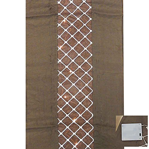 6 Chocolate Brown Damask Table Runner with Prelit Lights