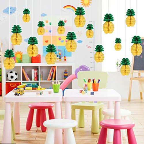 PARLAIM 1258 Set of 16 Pack Pineapple Honeycomb Centerpieces Tissue Paper Pom Poms Pineapple 6 Inch Party Supplies Table Hanging Decoration Hawaiian Luau Party Birthday Wedding Home Favor