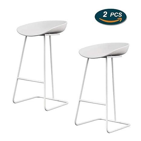 Amazon.com: Taburete de bar GTD, sillas blancas sin ...