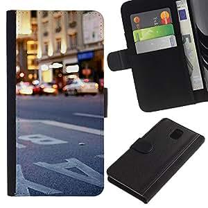 KLONGSHOP // Tirón de la caja Cartera de cuero con ranuras para tarjetas - Ciudad de Nueva York Nueva York - Samsung Galaxy Note 3 III //