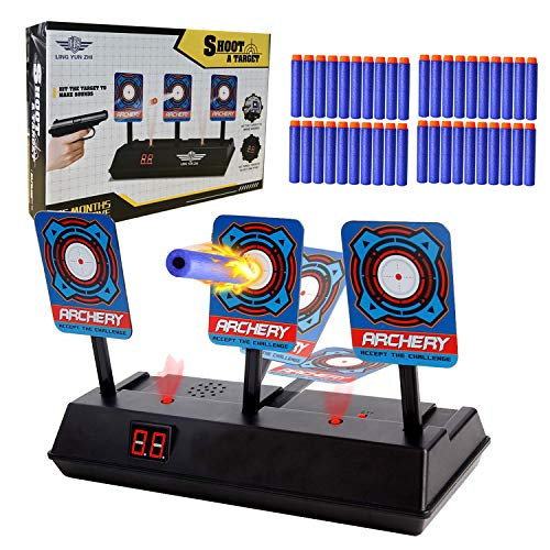 Fstop Labs Electric Targets, Electric Scoring Auto Reset Shooting Digital Target with 40 Pieces Foam Refill Darts for Nerf Guns Blaster, Shooting Games, Party Favors Gift for Kids, Outdoor -
