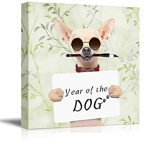 (Oil Painting Dog Canvas Wall Art, Year of The Dog, Cool Chihuahua Dog with Sunglass Hold a Board, Giclee Print Gallery Wrap Modern Ready to Hang for Home Office Hall Decor 28x28inch)