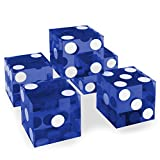 Set of 5 Grade AAA 19mm Casino Dice with Razor Edges and Matching Serial Numbers by Brybelly (Blue)