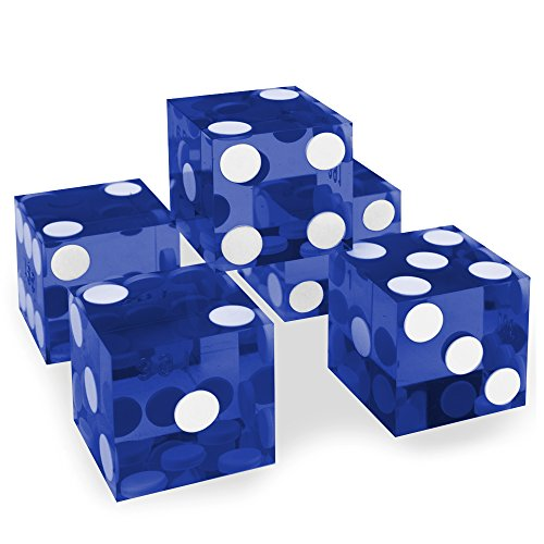 Set of 5 Grade AAA 19mm Casino Dice with Razor Edges and Matching Serial Numbers by Brybelly (Blue)]()