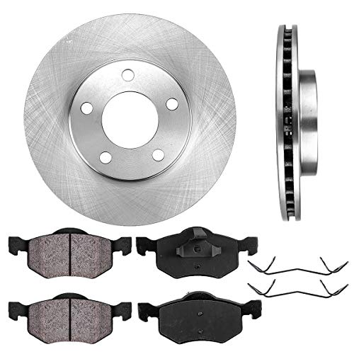 FRONT 277.88 mm Premium OE 5 Lug [2] Brake Disc Rotors + [4] Ceramic Brake Pads + Clips ()