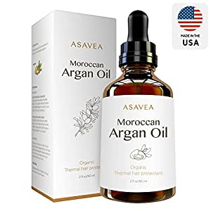 AsaVea 100% Pure Organic Moroccan Argan Oil Thermal hair protectant, USDA Certified Organic for Hair, Skin, beard & Nails Made in USA (2 fl. oz.)