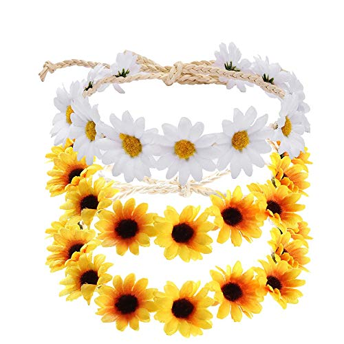 ManYee Sunflower Headband Crown Headpiece 3Pcs Daisy Headband for Women Girl Adjustable Hair Wreath Garland Accessories Bridal Wedding Parties Festivals Photo Props -