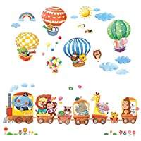 Decowall DA-1406 Tren de animales y globos de aire caliente Adhesivos de pared para niños Pegatinas de pared Pelar y pegar Pegatinas de pared desmontables para niños Cuarto de niños Dormitorio Sala de estar
